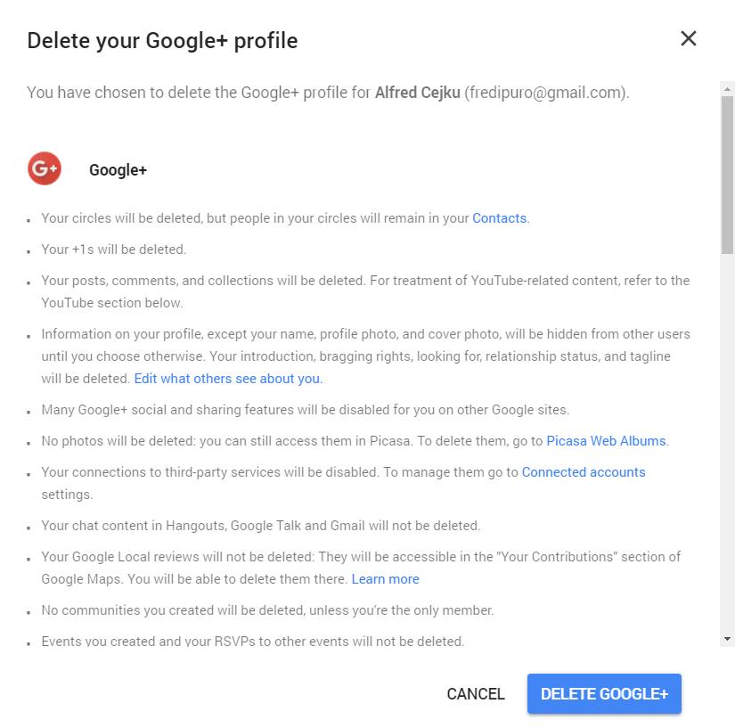 Delete Google Profile